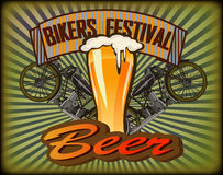 Bikers Festival retro , vector .Beer Royalty Free Stock Image