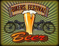 Bikers Festival retro , vector .Beer Stock Photos