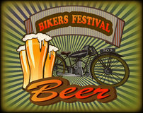Bikers Festival retro , vector .Beer Royalty Free Stock Images