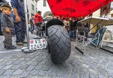 Week-end in Brig town. At the bikers freak-out in Brig, Switzerland Royalty Free Stock Photos