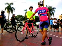 Bikers gather for a bike fun ride in marikina city, philippines Royalty Free Stock Photography