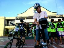 Bikers gather for a bike fun ride in marikina city, philippines Royalty Free Stock Image