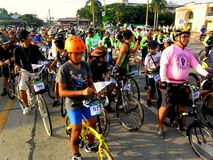 Bikers gather for a bike fun ride in marikina city, philippines Royalty Free Stock Photos