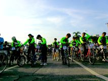 Bikers gather for a bike fun ride in marikina city, philippines Stock Photo