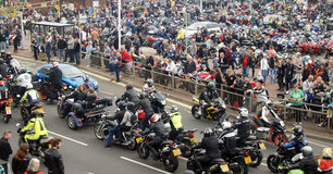 Bikers gather in a seaside bike festival Royalty Free Stock Photography