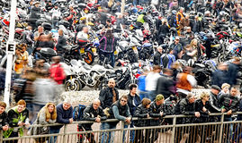 Bikers gather in a seaside bike festival Royalty Free Stock Photos