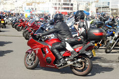 Bikers gather in a seaside bike festival Stock Photography