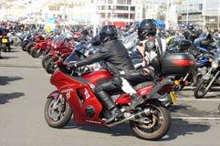 Bikers gather in a seaside bike festival Stock Photography