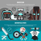 Bikers Gear Horizontal Banners Stock Images