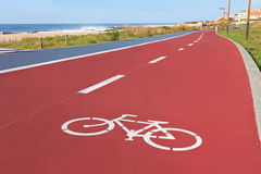 Bikers lane sign. On the asphalt ground Stock Photos