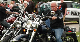 Bikers leave the Save Our Cross Rally, Knoxville, Iowa Royalty Free Stock Images