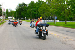 Bikers in the main street of La Prairie in Wisconsin enjoying a day out Royalty Free Stock Photography