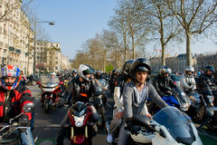 Bikers' manifestation in Paris Royalty Free Stock Images