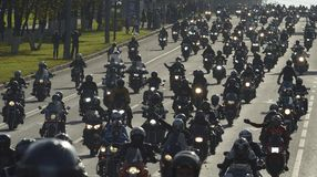 Bikers in Moscow. 2013 oktober Moscow Leninski prospekt bikers in Moscow Royalty Free Stock Photo
