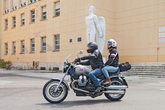 Bikers on a Moto Guzzi Bellagio Royalty Free Stock Photography