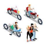 Bikers with Motobikes. Motorcycle Riders Royalty Free Stock Image