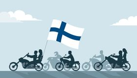 Bikers on motorcycles with finland flag. Bikers on motorcycles with finnish flag Royalty Free Stock Image