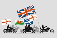 Bikers on motorcycles with flags of united kingdom Stock Images