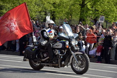 Bikers on motorcycles among the immortal regiment on WWII Victory Parade, St. Petersburg, Russia Stock Photography