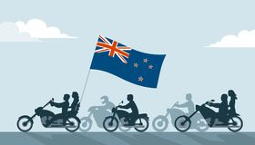 Bikers on motorcycles with new zealand flag Stock Photos