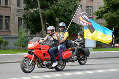 Bikers on motorcycles with ukrainian flag Royalty Free Stock Image