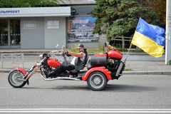 Bikers on motorcycles with ukrainian flag Royalty Free Stock Images