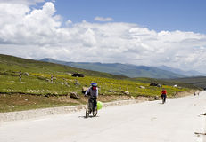 Bikers  in mountain aera Stock Photos