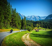 Bikers on mountainous road Stock Photography