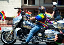 Bikers at the 2018 New York City Pride Parade. Manhattan, New York - June 24, 2018: New York City Pride Parade commemorating the 49th anniversary of the royalty free stock photo