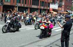 Bikers at the 2018 New York City Pride Parade. Manhattan, New York - June 24, 2018: New York City Pride Parade commemorating the 49th anniversary of the stock images