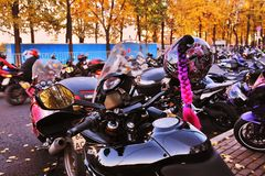 Free Bikers On The Road. Festival In Moscow. Stock Image - 151025791