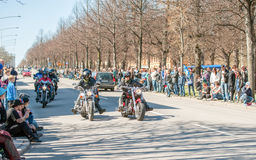 Bikers parade celebrates spring in Sweden Royalty Free Stock Photography