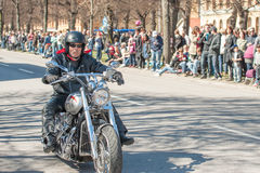 Bikers parade celebrates spring in Sweden Royalty Free Stock Photo