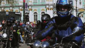 Bikers parade and show. Night Wolves MG Russia stock video footage