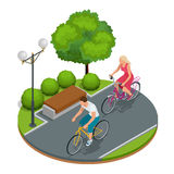Bikers in park. Cycling on bike path. Weekend excursion on their bikes on a summer day.  Flat 3d vector isometric Royalty Free Stock Photography