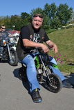 Bikers and priests Royalty Free Stock Photography