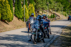 Bikers. Ready for trip after short pause Royalty Free Stock Image