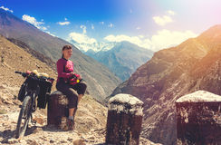 Bikers relax in beautiful Himalayas mountains. India Royalty Free Stock Image