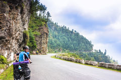 Bikers ride in beautiful Himalayas mountains. India Stock Photography