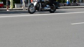 Bikers ride motorcycles street yearly biker festival stock video