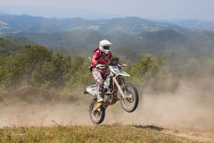 Bikers riding enduro motorcycles Husqvarna FE 350 Royalty Free Stock Photography