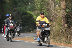 Bikers riding motorcycle in the mountain. Chiang mai, Thailand - March 20, 2015: Bikers riding motorcycle in the mountain at Doi inthanon Ching mai, Thailand Royalty Free Stock Photo