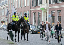 BIkers and riding policemen in Utrehct Stock Images
