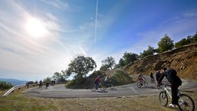Bikers Riding Up on Mountain Curved Road stock video