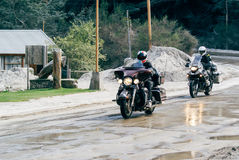 Bikers riding in Villa La Angostura Royalty Free Stock Images