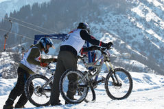 Bikers rise to start Stock Photography