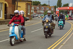 Bikers on scooters at rally at Rye in Sussex, UK royalty free stock image
