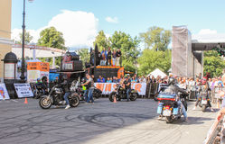 Bikers at the site for a ride. Stock Photos