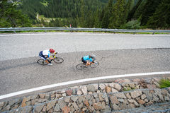 Bikers from the sky - downhill roadbike. View from above to a cyclist couple Stock Photography