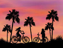 Bikers at Sunset Royalty Free Stock Photography